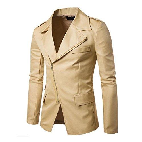 Cheap DoufineMen Doufine Men Leisure Turn Down Collar Zipper Solid Long Sleeve Blazer hot sale