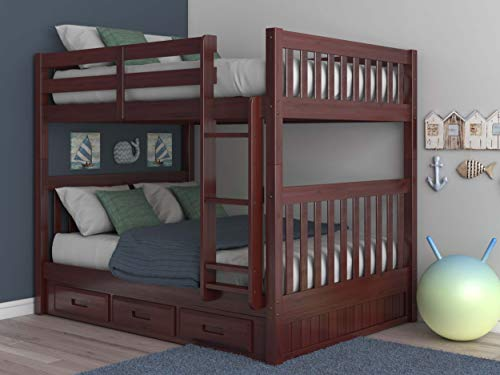 Discovery World Furniture Mission Full Over Full Bunk Bed with 3 Drawers, Desk, Hutch, Chair and Entertainment Dresser in Merlot Finish