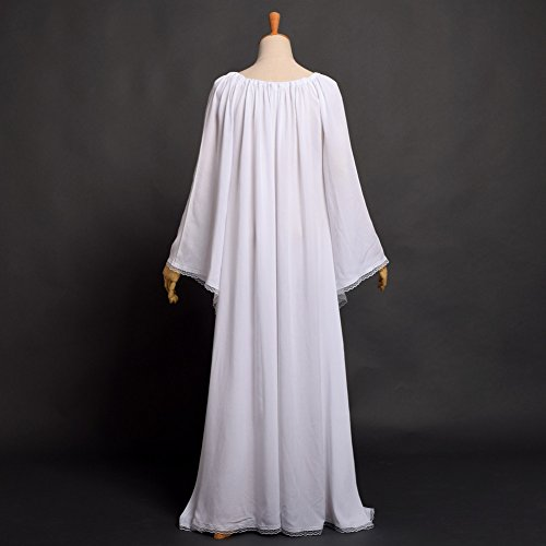 Manche Femmes Robe Encapuchonn Fantaisie Robe Fte clater Lacer Longue Blanc BLESSUME Cosplay Mdival AqwFYYT