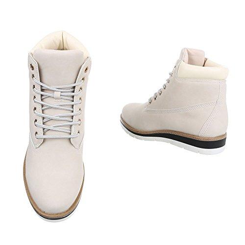 Zapatos para mujer Botas Plano Botines de cordones Ital-Design Beige