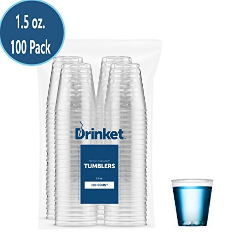 Small Clear Plastic Cups – Shot Glasses | 1.5 oz. 100 Pack | Hard Disposable Cups | Plastic Cocktail Glasses | Plastic Drinking Cups | Plastic Party Cups | Mouth Wash Cups | Bulk Wedding  Tumblers ()