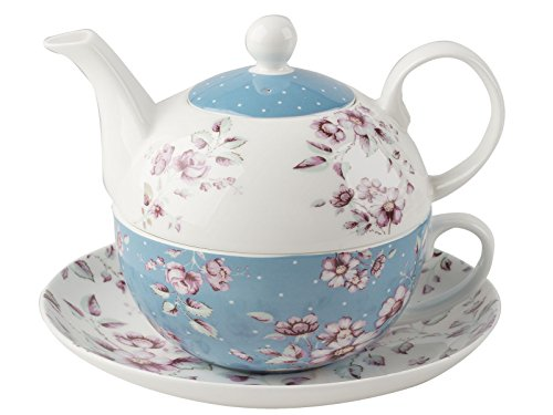 Katie Alice Ditsy Floral Ceramic Tea for One Teapot and Cup - Teapot Capacity: 450 ml (15 fl oz), Cup Capacity: 280 ml (9 fl oz)
