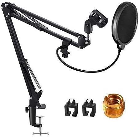 UMELY Soporte de Micrófono Ajustable con Filtro Pop Suspensión Brazo de Tijera Soporte para Yeti Azul, Bola de Nieve y Otros Micrófonos: Amazon.es: Instrumentos musicales