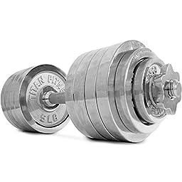 Pair Adjustable Chrome Dumbbells Weight 100lb Kit Set Total Titan Fitness