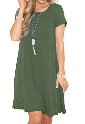 Green Soft Dress - GRECERELLE Women's Short Sleeve Casual Plain Flowy Simple Swing T-Shirt Loose Dress Army Green-XL