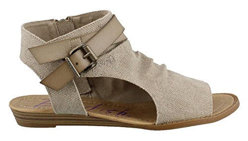 a Light Taupe Rancher Canvas/Dyecut PU 7.5 M (Women Flat Sandals)