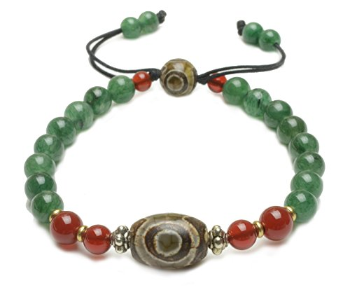 Elegant Tibetan 3 Eyed Protection Dzi Bead Bracelet with 6mm Green Jade Beads - Fortune Feng Shui Jewelry