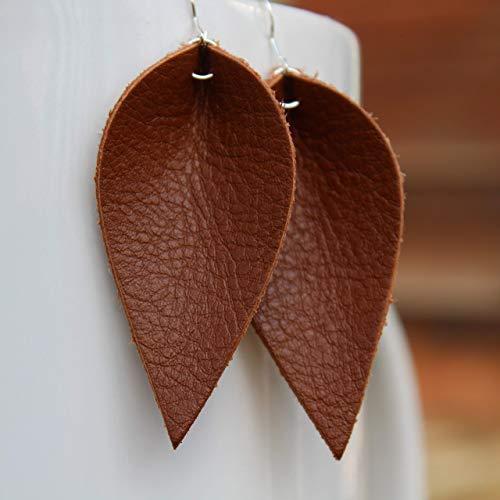Brown Mini Genuine Leather Leaf Earrings // Joanna Gaines Inspired