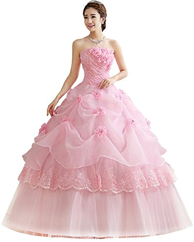 Onlybridal Junior Quinceanera Dresses Pink Long Organza Off Shoulder Ball Gown Party Prom Dresses Under 50 Size 2