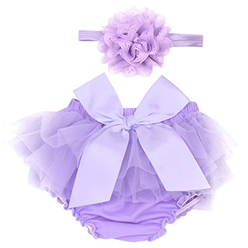 dPois Infant Baby Girls' Tulle Bowknot Ruffle Bloomers Skirts Diaper Cover with Flower Headband 2PCS Photography Prop Set Lavender 0-3 Months