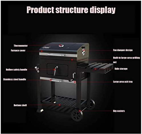 Barbecue HZY Grande capacité, Portable Charbon Jardin extérieur Camping Nourriture Cuisine Grill à roulettes 115 * 68 * 107 cm