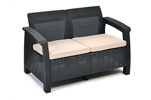 Keter Corfu 2 Seater Rattan Sofa Outdoor Garden Furniture - Graphite with Cream Cushions