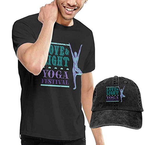 Airealy Men's Short Sleeves Love Yoga T-Shirt + Jeans Hats Combo Set