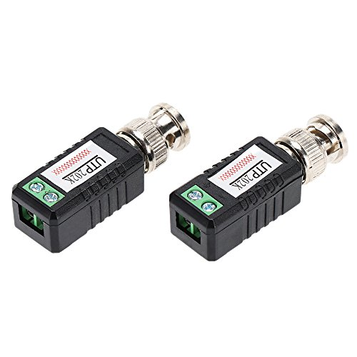 KKmoon 2X Coax CAT5 Camera CCTV Passive BNC Video Balun to UTP Transceiver Connector