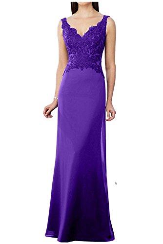 Abendkleider La Braut Etuikleider Brautmutterkleider Spitze Ballkleider Damen V Herrlich Neu Langes Gruen Ausschnitt Violett mia Ar5C0xqwA