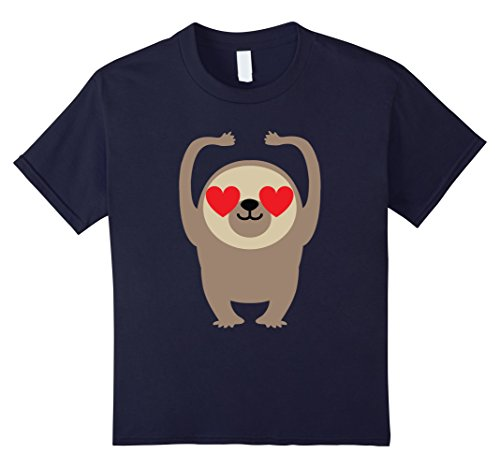 Kids Sloth Emoji Heart & Love Eye Dance Shirt T-Shirt Tee 12 Navy