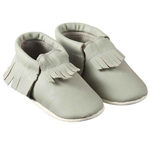 Chaussons Cuir Souple A Franges Taupe-25/26
