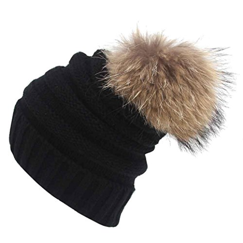 WensLTD Knit Winter Warm Women Men Skull Slouchy Furry Beanie Hat Baggy Unisex Ski Cap (Black)