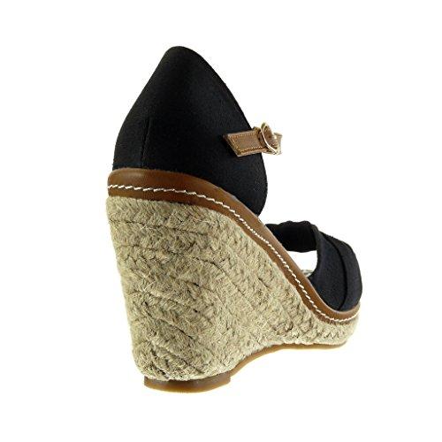5 Espadrille compensé Talon plateforme Chaussure corde lanière Noir plateforme noeud femme 10 Mode Sandale CM Angkorly qAOSAp