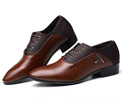 Shoes Toe Mens Plain missfiona Pointed Lace Shoes Oxford Derby Casual PU Mesh up Dress Brown Leather t8A5qwd