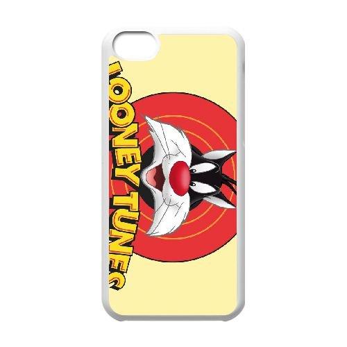 Sylvester Cat Looney Tunes Wide coque iPhone 5c cellulaire cas coque de téléphone cas blanche couverture de téléphone portable EEECBCAAN08577