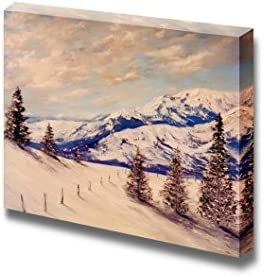 Beautiful Winter Scenery Landscape of a Snow Covered Mountain Wall Decor