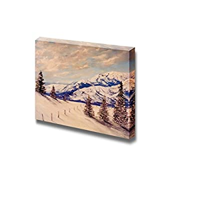 Canvas Prints Wall Art - Beautiful Winter Scenery/Landscape of a Snow Covered Mountain | Modern Wall Decor/Home Decoration Stretched Gallery Canvas Wrap Giclee Print & Ready to Hang - 12