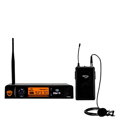 "Nady DW-11 Digital Wireless Lapel Microphone System – Ultra-low latency with QPSK modulation - XLR and ¼"" outputs – UHF range – The most affordable true digital system available today! by Nady"
