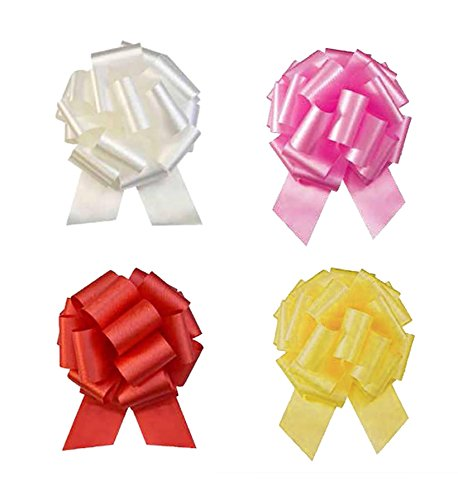 "Morex Ribbon Easy Holiday or Gift Bow 4 Pack, Each 8"", Contains 1- White, 1- Yellow, 1- Pink, 1- Red Bows, Bows Made Instantly"