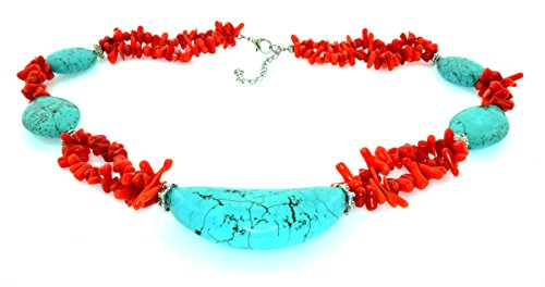 Natural Navajo Turquoise with Coral Beads Necklace
