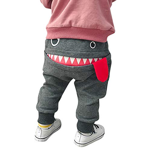 Baby Children Kids Boys Girls Cartoon Shark Tongue Harem Pants Trousers Pants (Gray, Size:6-12 Months) ()