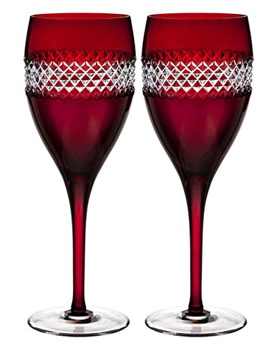 Waterford John Rocha Red Cut Crystal Wine Glasses Set Of 2 #40008457 NEW by John Rocha at Waterford