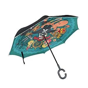 Azul Viper Inverted paraguas pirata elementos con diseño de calaveras Reverse plegable impermeable UV protección recto paraguas mango de doble capa y laboratorio independiente para coche y viajes uso en exteriores