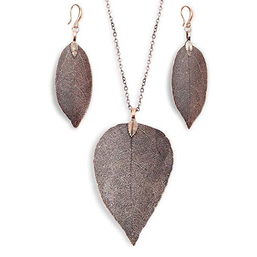 Adoeve Women Fashion Leaf Pendant Pendant Necklace Drop Earrings Set Gifts Jewelry Sets from Adoeve
