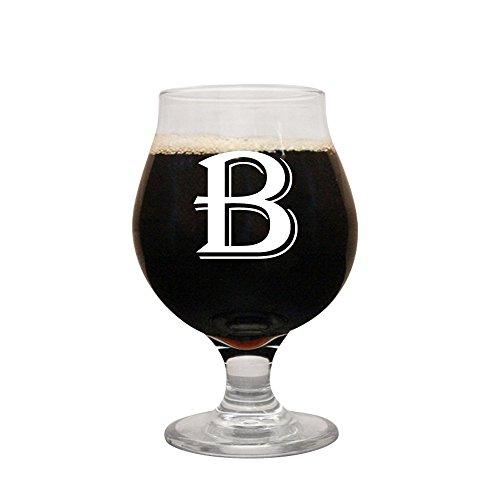 Monogrammed Belgian Beer Glass by Froolu Personalized initial engraved Belgian Beer Glass