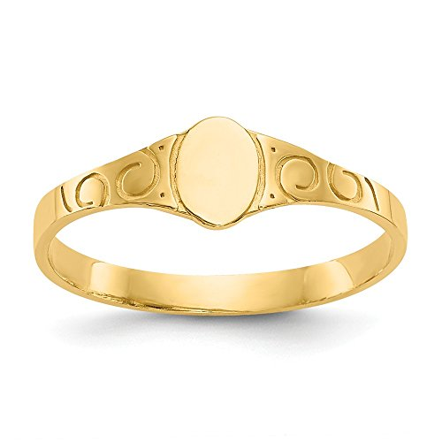 14k Yellow Gold Oval Baby Signet Band Ring Size 3.00 Fine Jewelry Gifts For Women For ()