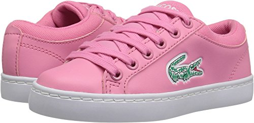 Lace Lacoste Sneakers (Lacoste Kids' Straightset Lace Sneakers,Pink/White Synthetic,12. M US Little Kid)