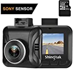 "Dash Cam Shingtak Full HD 1080P Car Dashboard Camera with Sony Sensor 170° Wide Angle, 6G Lens, 1.5"" LCD Screen, WDR, Loop Recording, Motion Detection and G-Sensor (Kingston 16GB Micro SD Included) For Sale"