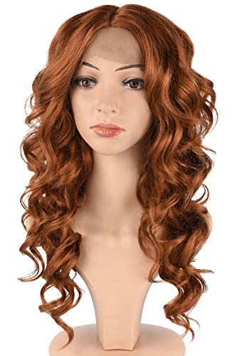Tofafa Auburn Brown Synthetic Lace Front Wigs for Women,Fashion Curly Wavy Hair Wig Daily Costume (18 inches,#30) (Dark Brown Hair With Blonde In Front)