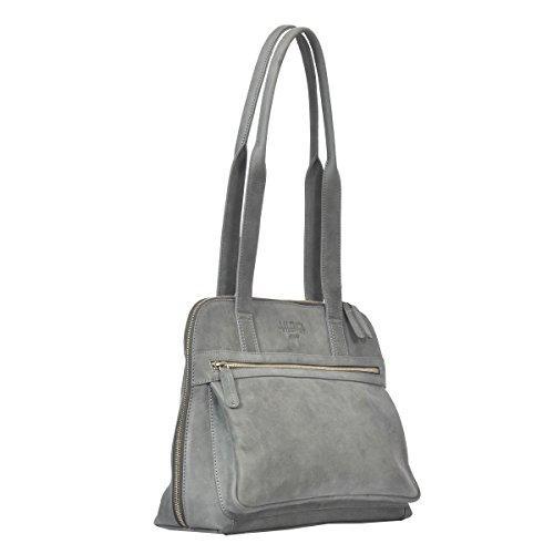 """Vilenca """"40716 Grigio"""" Signore borsa a tracolla, borsa di cuoio per le donne, Dimensioni- L38cmxH29cmxB3cm �?"""