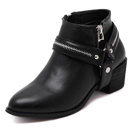 LvYuan-mxx Las mujeres ponen en cortocircuito las botas / el invierno de la caída / los cargadores retros de Martin de la correa de Roma / de la cremallera / el dedo del pie punteado / la comodidad oc BLACK-39