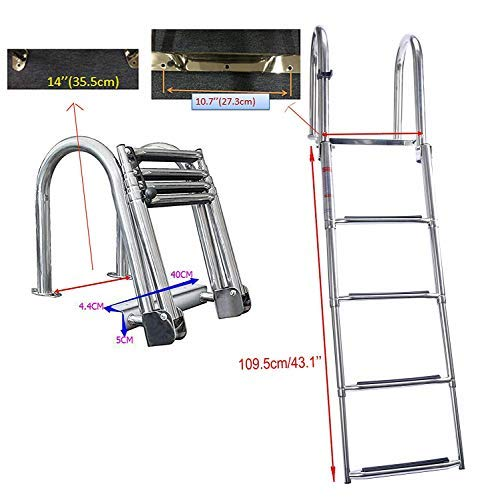 DasMarine 4 Step Pontoon Boat Ladder, Stainless Steel Folding Telescoping Rear Entry Inboard Ladder Heavy Duty Custom Swim Deck Ladder with Pedal Hand Railing Ladder Dock Ladder Extra Wide Step ()