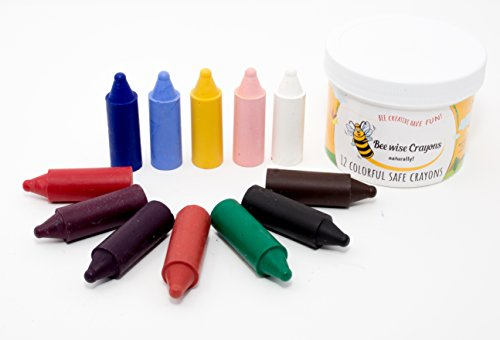 BeeWise Beeswax Waldorf Crayons, Natural Non-Toxic Easy Grip Fat, Jumbo Crayons for Kids and Children - Handmade in the USA (12 Pack) - Pure Ingredients, Paraffin and Petroleum Wax Free (Impact Media Safes)