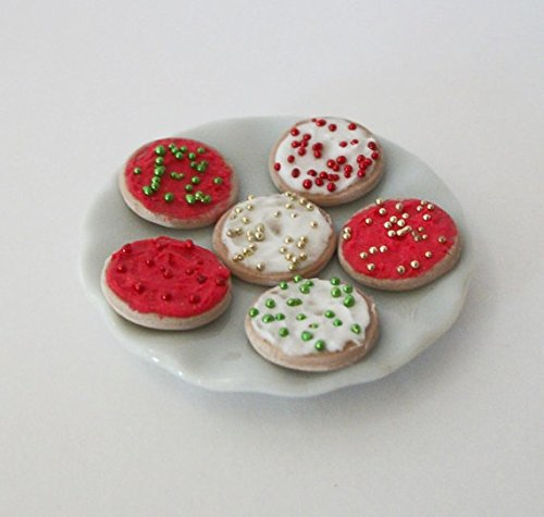 1:12 Scale Christmas Round Sugar Cookies Dessert Dollhouse Miniature Doll Food Fairy Garden Dinner Lunch Meal Dessert