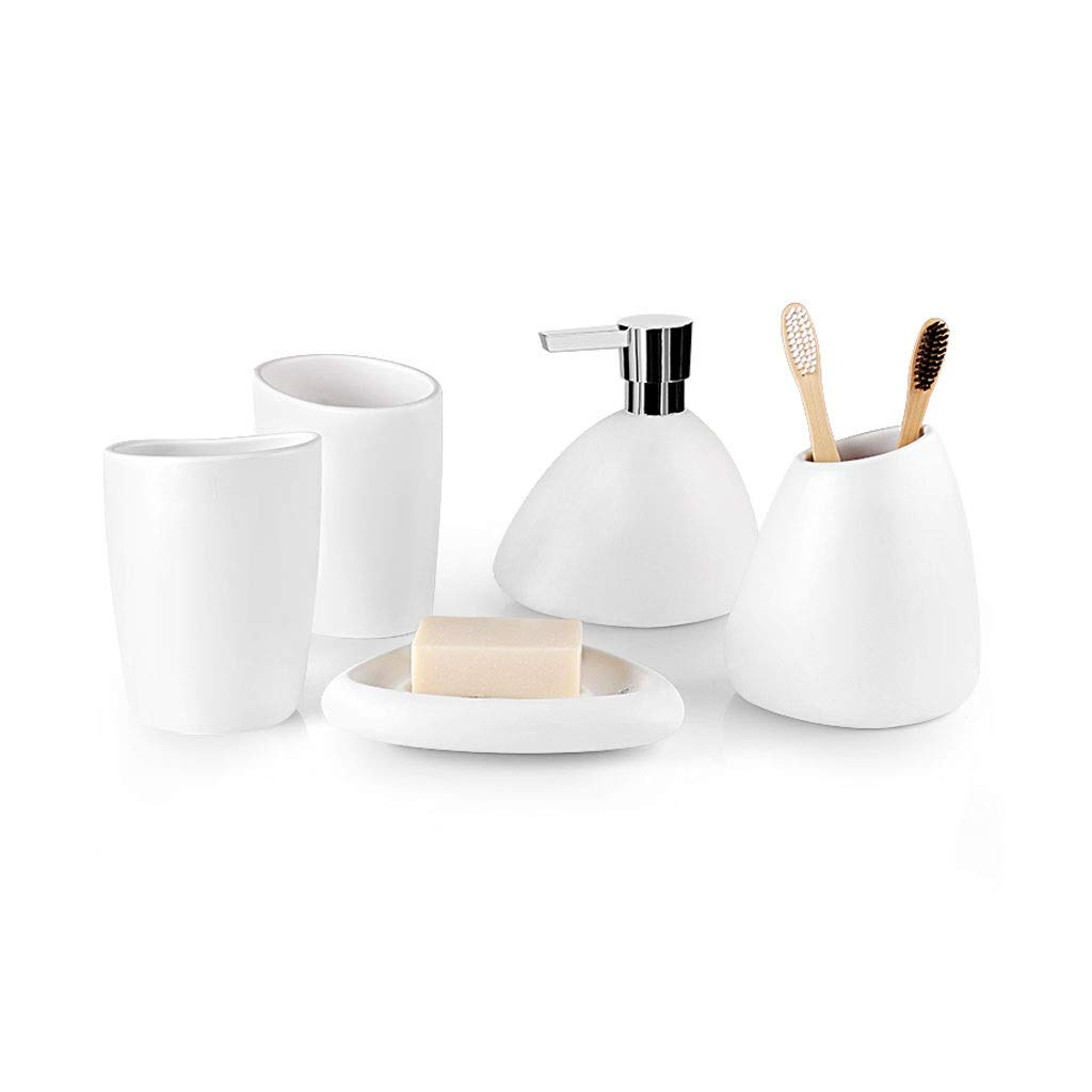 European Set of 5 Ceramic Bathroom Soap Dish Soap Machine Toothbrush Holder Household Soap Dispenser Bathroom Accessories (Color : White-5-piece Set)