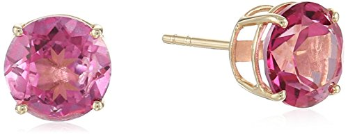 10k Yellow Gold Pink Topaz Round Stud Earrings (Gold Pink Topaz Earrings)