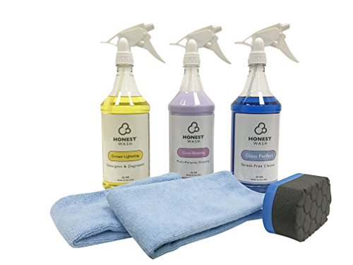 Honest Wash Interior Cleaning Kit – Everything to Clean the Interior of your Car, Truck, or SUV – Includes Glass Cleaner, Fabric Cleaner, Shine & Protectant for Panels, Microfiber Towels, & Applicator