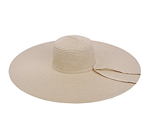 JIERKU Adult Sun Hat Beige Wide Brimmed Straw Hat Summer Beach Sun Cap Beige