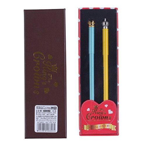 mg-the-kings-crowns-series-premium-mental-rollerball-pen-set-05mm-black-ink-blue-and-yellow
