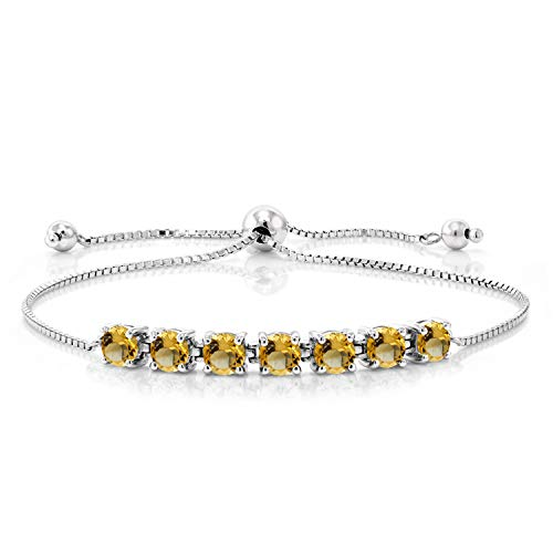 Gem Stone King 2.24 Ct Round Yellow Citrine 925 Sterling Silver Bracelet
